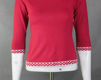 Retro Jumper  - 90s Vintage Sweater - Womens Sweater - Lose Weight Sweater - Vintage Clothing - Red White Jumper Medium