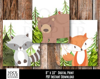 Woodland Animal Digital Download, Forest Animal Nursery Art, Woodland Animal Nursery Wall Art, Printable Nursery Set of 3, SKU-RNA116