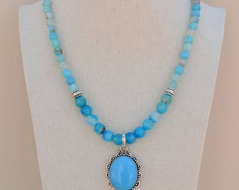 Turquoise Agate Necklace.