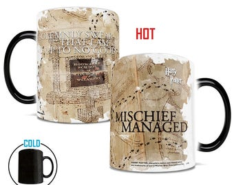 Morphing Mugs Officially Licensed Harry Potter Hogwarts Marauders Map Heat Reveal Ceramic Coffee Mug - 11 Ounces