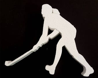 12 inch tall foam Field Hockey Cut Out female for centerpieces,crafts,field hockey party,sports, cut out,styrofoam field hockey player shape