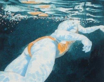 Original Art - Mini Swimmer no.18 - Painting in gouache, watercolour, palladium leaf. Open water swimmer, diver. Artwork by Nancy Farmer