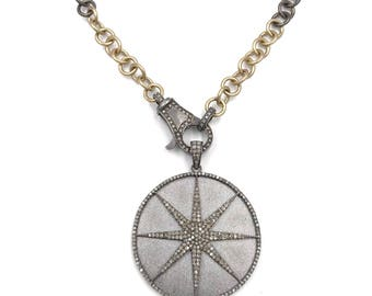 Short brushed 18k gold and sterling silver diamond star necklace, Pave diamond necklace, Layer necklace, Diamond chain