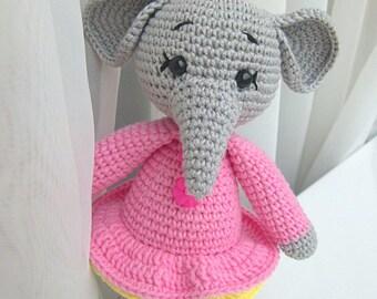 Elephant Stuffed Animal / Stuffed Elephant Toy / Elephant Baby Shower/ Elephant Baby Gift / Elephant Nursery / Crochet Elephant