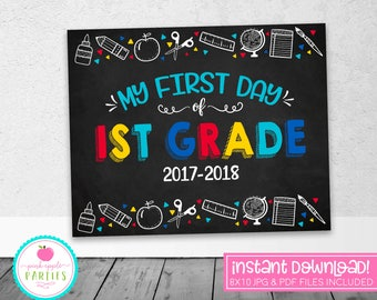 First Day of 1st Grade Chalkboard Sign - First Grade Sign - Blue, Red, Yellow, Turquoise - 8x10 Instant Download Printable Sign