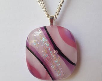 Pink and lavender pendant with dichroic accents