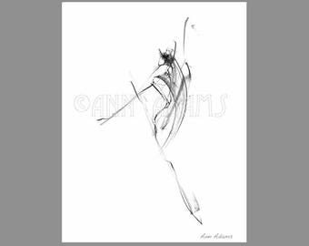 018 Ballet Dancing Drawing, Abstract Pencil Sketch, Minimalist art, Ink Print from My Original Figure Artwork by Ann Adams