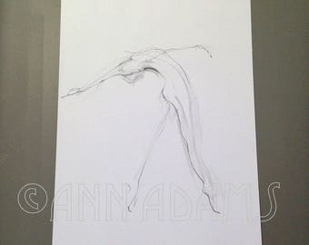 ORIGINAL Drawing, Pencil sketch Figure drawing, Minimalist art by Ann Adams 019