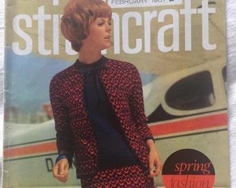 Stitchcraft Magazine/Feb 1967/1960's/Knitting, Embroidery, Crochet Patterns
