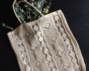 Vintage hand crocheted lace tote