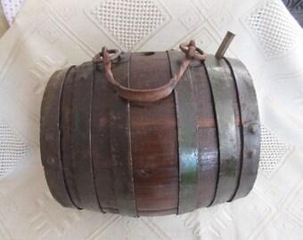 Old antique primitive wooden flask keg barrel  for water BIG massive heavy