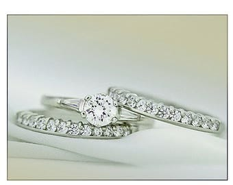 Three rings in silver ring 925/1000 and zirconium CZ