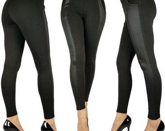 Womens Ladies Black Full Length Skinny Fit Leggings Checkered Panel Size 6 8 10 12 14 16 18