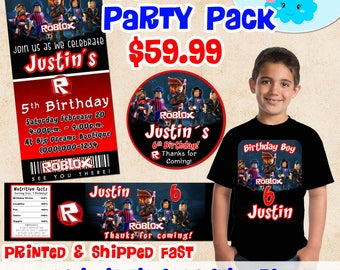 Roblox Invitations Birthday Party Set, Roblox Boy Birthday Shirt