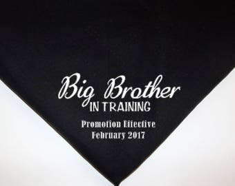 Dog Pet Bandana Reveal Baby Annoucement promoted to big brother in training choose colors Over the collar or tie on xs small medium large xl