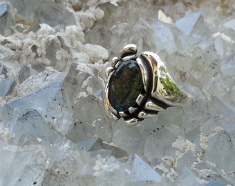 No. 22  Canadian Ammolite Ring. Size 9