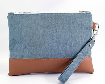 Emilia Clutch - wristlet purse - Blue Grey - faux leather - travel wallet - free shipping
