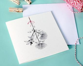 Greeting card – Pōhutukawa flower – native New Zealand flora – Christmas card
