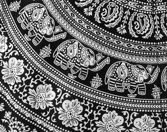 Wall Tapestries Black and White Tapestry Bohemian Tapestry Boho Decor Wall Art Mandala Dorm Room Decor Gypsy Bed Cover Elephant Yoga Decor