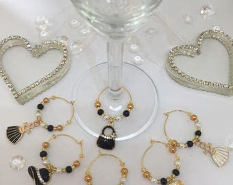 Wine Glass Charms Hats and Bags and Dresses