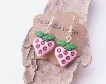 Strawberry earrings strawberry jewellery strawberry dangle earrings  jewellery food earrings. Kitsch Wimbledon jewelry. Strawberries