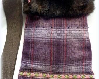 Smaller Handmade Wool & Faux Fur Shoulder Bag