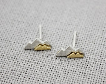 Cute and Tiny two colors Mountain stud earrings, Two Tone Mountain earrings,