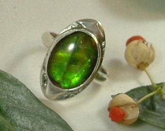 Ammolite Ring Sterling Silver Size 9 1/2 Large Utah Gem Fossil Dragon Eye Fossil Green Yellow Gem Statement Ring   320 G