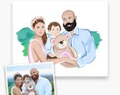 Family Custom Portrait, Painting from a Photo, Gifts for Her 2017, Home Decor,  Christmas Gift, Housewarming Gift, DIGITAL DOWNLOAD
