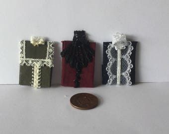 Handmade Dolls House Miniature 1:12 scale Ladies 3 Folded assorted colours Lace victorian style  blouses