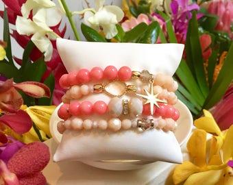 Coral Stack Bracelets Beaded Bracelets Layering Bracelets Stretch Bracelets