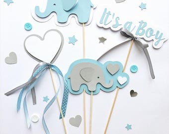 Elephant Centerpieces Boy Baby Shower Centerpieces Blue Gray Its a Boy Centerpieces Baby Boy Shower Elephant First Birthday Table Decoration