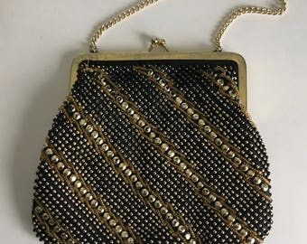 Vintage Black and Gold Beaded Evening bag
