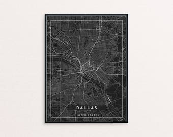 Dallas Black City Map Print, Clean Contemporary poster fit for Ikea frame 24x34 inch, gift art him her, Anniversary personalized travel