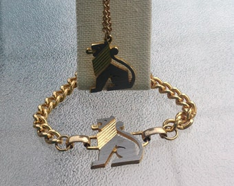 Leo the Lion Necklace and Bracelet Set - Vintage