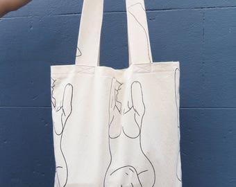 Screen Printed Lady May Tote Bag