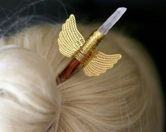 Fairy Wing Boho Hair Stick (Hair Pick) with Raw Clear Quartz + Gift Packaging