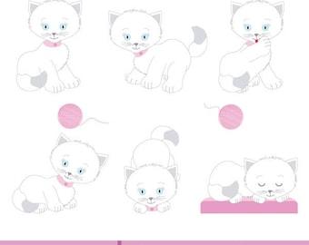 White kittens in different poses, Children's illustration, children's illustration white kittens, vector illustration white kittens
