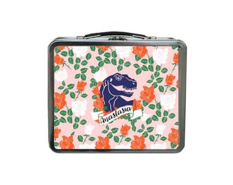 Dinosaur Lunch Box, Personalized Lunch Box, METAL Lunch Box, Monogram Lunch Box, Lunch Box for Girls, Tin Lunch Box for Kids, Reusable Lunch