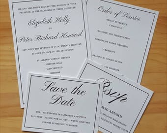 Invitation, RSVP, Save the Date & Order of Service, Traditional Wedding Stationery
