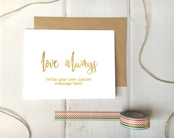"Love Always Printable Editable Template Card 5x7"" folded - faux gold foil effect DIY Print At Home Download"