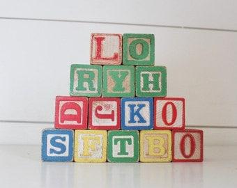Vintage toy blocks, vintage toys for display, vintage letter and number blocks, vintage construction block toys, vintage toys, vintage block