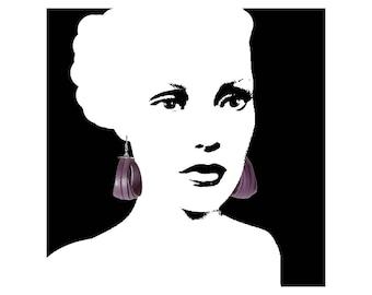 Hoop earrings in purple leather - leather earrings