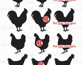 Chicken SVG, Chicken Monogram Svg, Chicken Silhouette, Chickens Svg, Svg Files for Silhouette Cameo or Cricut Commercial & Personal Use