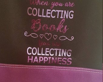 Collecting Books, Collecting Happiness Purple Tote Bag