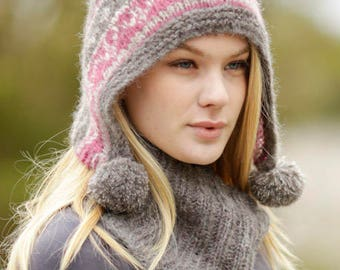Hat and neck to the irons. Soft in alpaca and silk. Very Soft knitted hat and neck warmer in alpaca. For child or woman