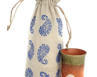 Wine bag Paisley Gifts under 10 Gift packaging Gift bag Wine gift Wine gift bag Packaging Wine tote Small tote bag Best friend Birthday gift