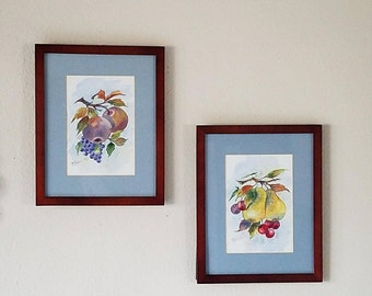 Pair of Framed Original Watercolor Paintings of Lushly Colored Fruit