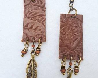 Leather and Feather Earrings