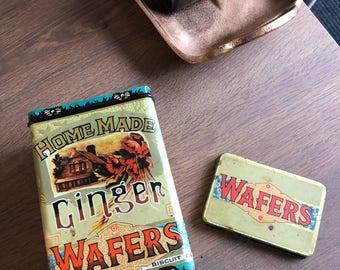 Vintage Metal Tin Tea Biscuit Ginger Wafers - Stash box - Planter Tin - Succulant Herbs Plant - Advertisement